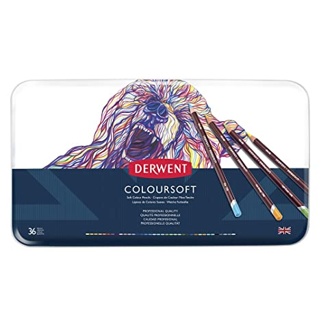 Derwent Colored Pencils ColourSoft Drawing Art Metal Tin 36 Count