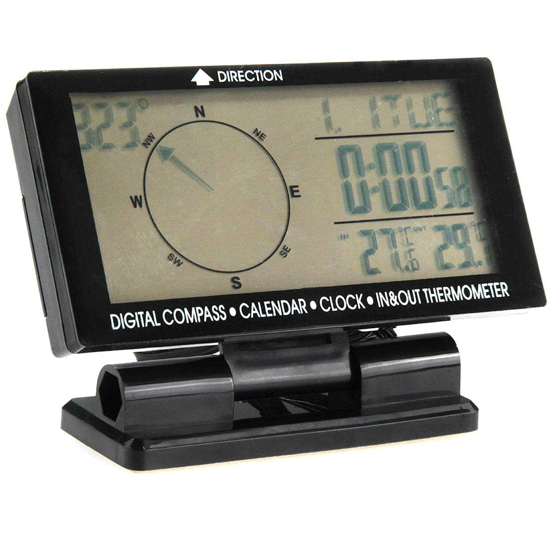 Car LCD Display Screen Blue LED in-Car Digital Compass Clock Thermometer Meter Calendar with Accessories