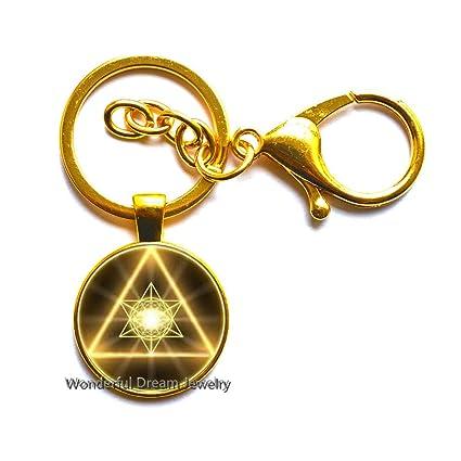 Llavero de cristal de cabujón de geometría sagrada dorada, joyería ...