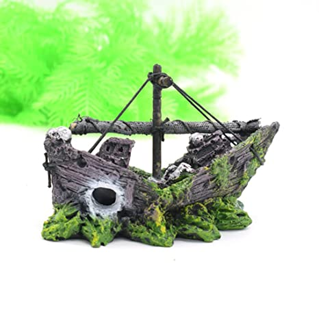 masterein Rusty barco pirata decoración para acuario Peces Tanque Ornamento 13 * 5 * 10 cm