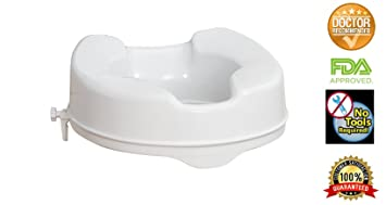 Stupendous Raised Toilet Seat By Healthline Elevated Hinged Toilet Seat Riser For Elderly And Seniors Round Pdpeps Interior Chair Design Pdpepsorg