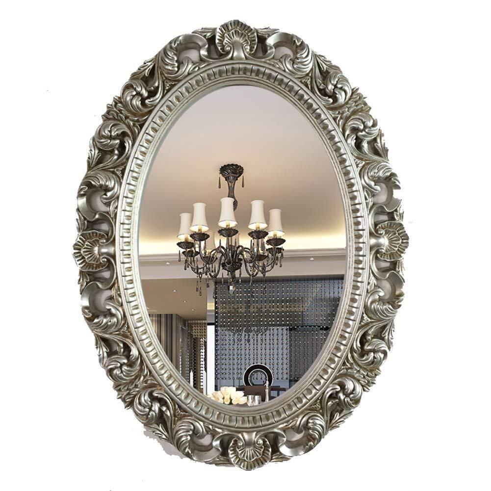 Bathroom Mirror,Bathroom Mirror Beauty Salon Decorative Mirror Bathroom Mirror Wall Hanging Oval Waterproof Mirror Entrance Mirror 90 120cm (Color : Silver)