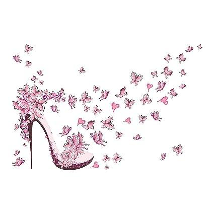 938ee19102b1cb MMRM Amovible Rose Chaussures à Talons Hauts Avec Papillon Vinyle  Autocollant Mural Décoration Chambre