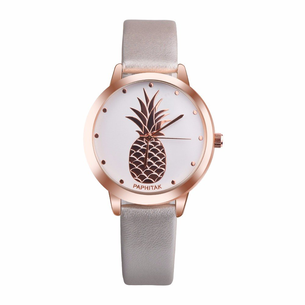 Watches for Women Clearance Wugeshangmao Girl's Fashion Analog Quartz Watch, Ladies Casual Pineapple Leather Strap Wirst Watch Business Casual Watch Gift