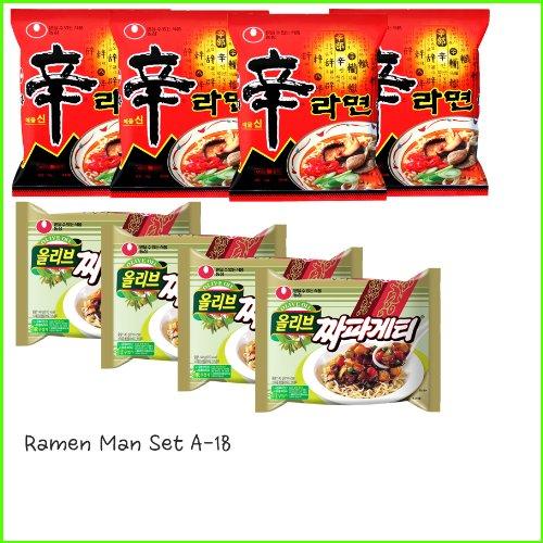 Ramen Man Set A-18(Shin Ramen x4 , Chapagehtti x4) 라면만 세트 A-18 (신라면 x4, 짜파게티 x4)