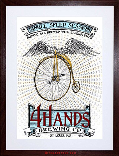 AD DRINK ALCOHOL BLONDE ALE PENNY FARTHING WINGS USA FRAMED PRINT F12X2196 Dark Ale Frame