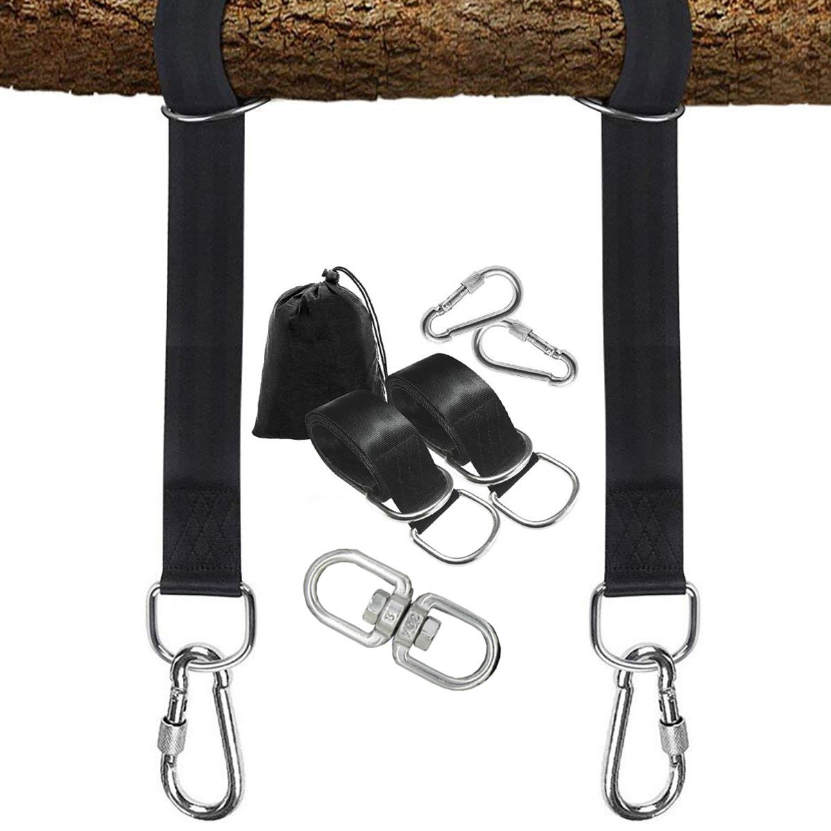 PLRB TOYS Tree Swing Hanging Straps, 2 x 6.5ft Long Straps with Safer Lock Snap Carabiner Hooks for Tree Swing & Hammocks, Perfect for Swings