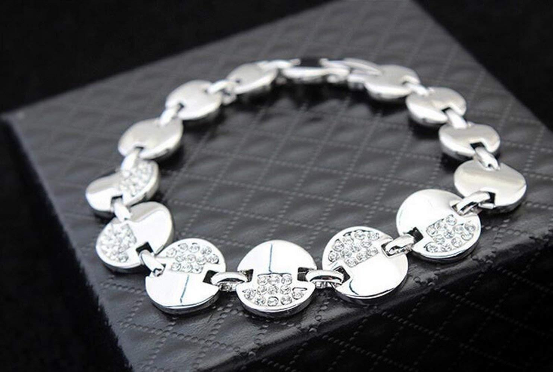 Women Elegant Leng Elegant Pretty Bracelet Extravagance Charming Women's Vintage Austrian Crystal Bracelet Bangle (White)