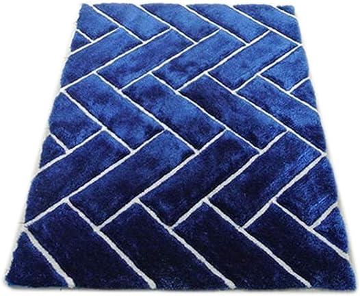 Modern Masada Rugs Shag Area Rug Design 3-D 801 Cobalt