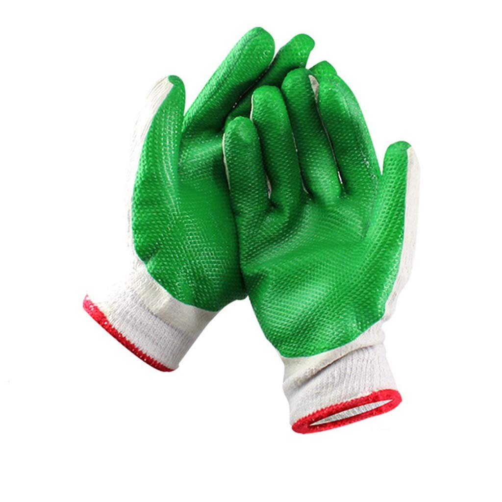 LZRZBH 12 Pairs of Work Gloves with Latex Coating , Sensitivity Industrial Glovesfor Gardening, Fishing,GardeningBuilders,Mechanic(Green,Medium Size) (Color : A)