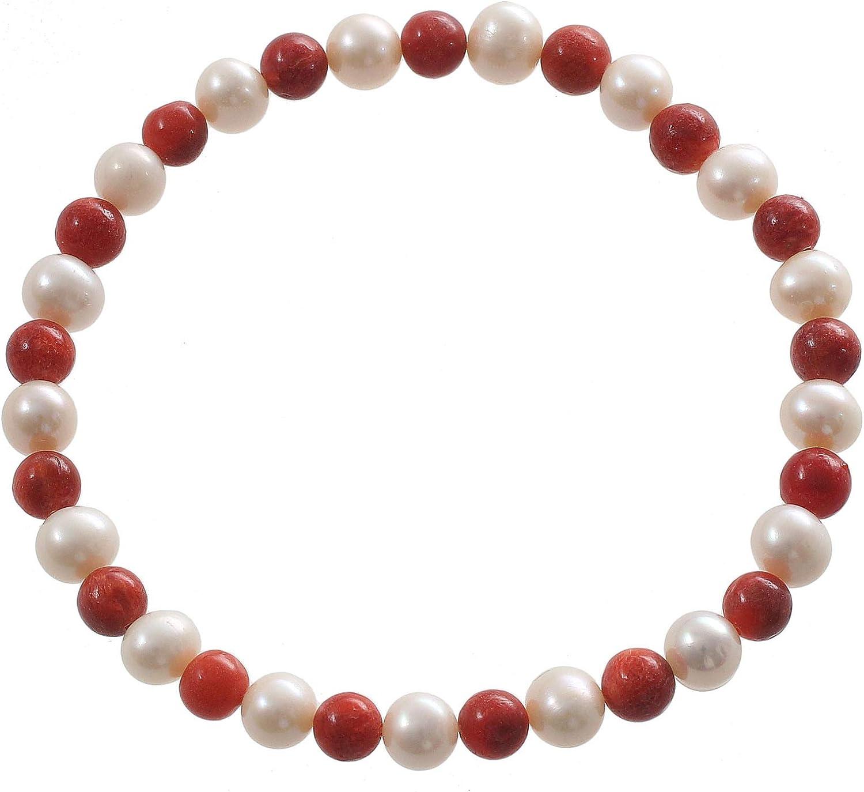 Pulsera de perlas para mujer con perlas y coral, 18 cm de largo, flexible, color blanco y rojo