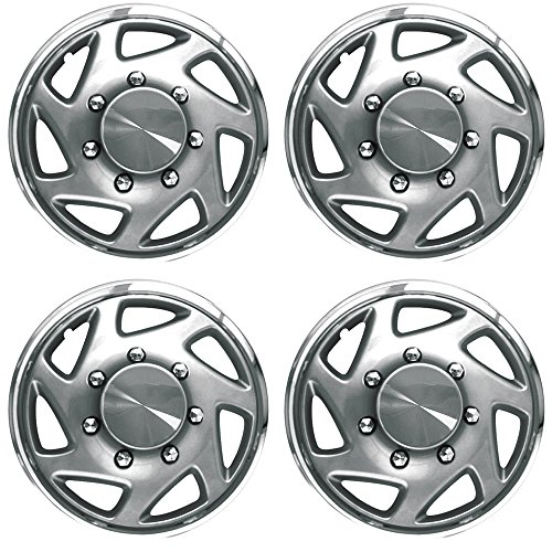 15 Inch Hubcaps Best For 1992 1996 Ford E 150 Set Of 4 Wheel Covers 15in Hub Caps Silver Chrome Rim Cover Car Accessories For 15 Inch Wheels Snap On Hubcap Auto Tire Replacement Exterior Cap