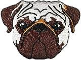 Pug Dog Animal Patch Puppy Pet Cute Biker Heavy Metal Horror Goth Punk Emo Rock Embroidered Iron On Applique Logo Jacket Vest Shirt Hat Blanket Backpack T Shirt Symbol Badge Cloth Sign Costume