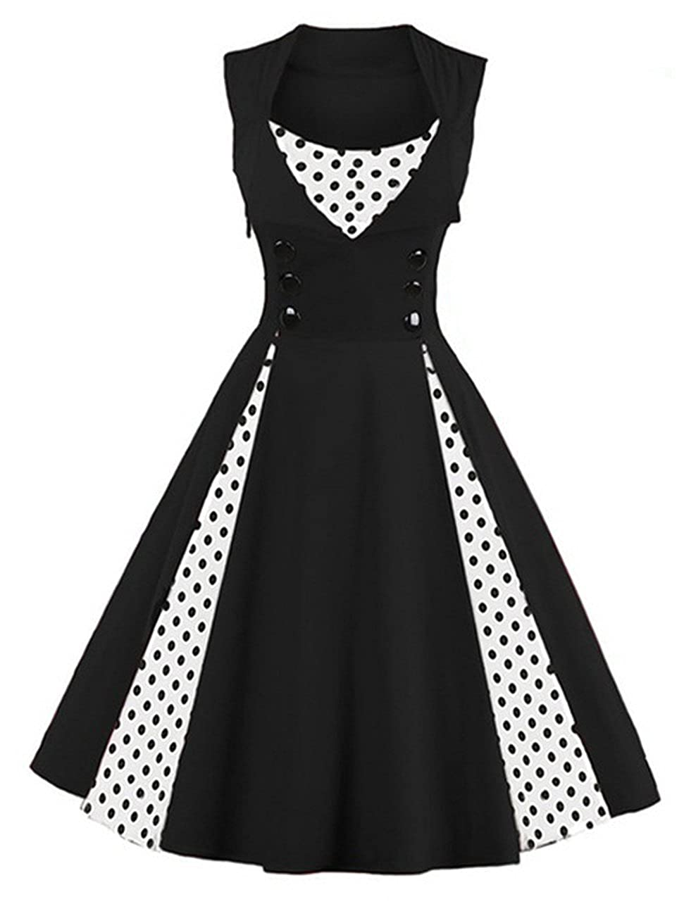 191d8450ae Killreal Women's Polka Dot Retro Vintage Style Cocktail Party Swing Dresses