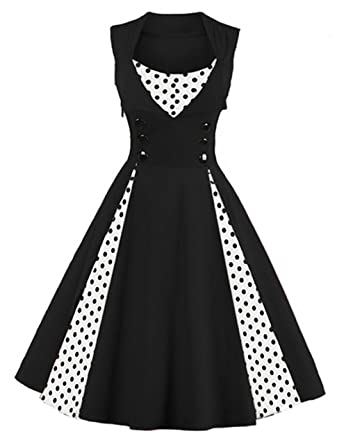 4e180d7dbbe8b Killreal Women's Sleeveless Vintage Rockabilly Polka Dot Cocktail Party  Dress Black Small