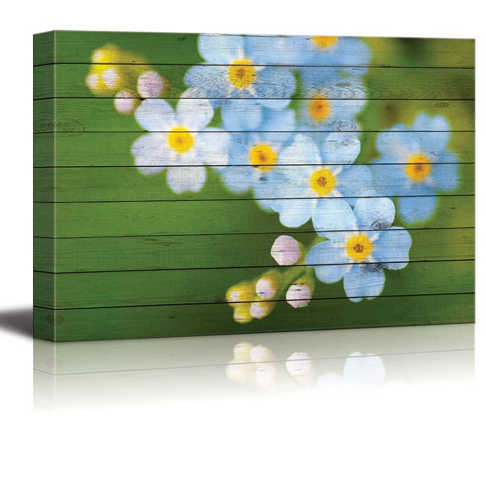 Small Blue And White Flowers Over Green Wood Panels Canvas Art
