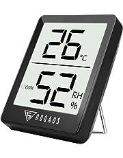 DOQAUS Thermometre/Hygromètre Intérieur, Hygrometre Interieur de Haute Précision, ℃/℉Commutable, pour Détecter humidité et la température, Indication du Niveau de Confort, Portable (Noir)