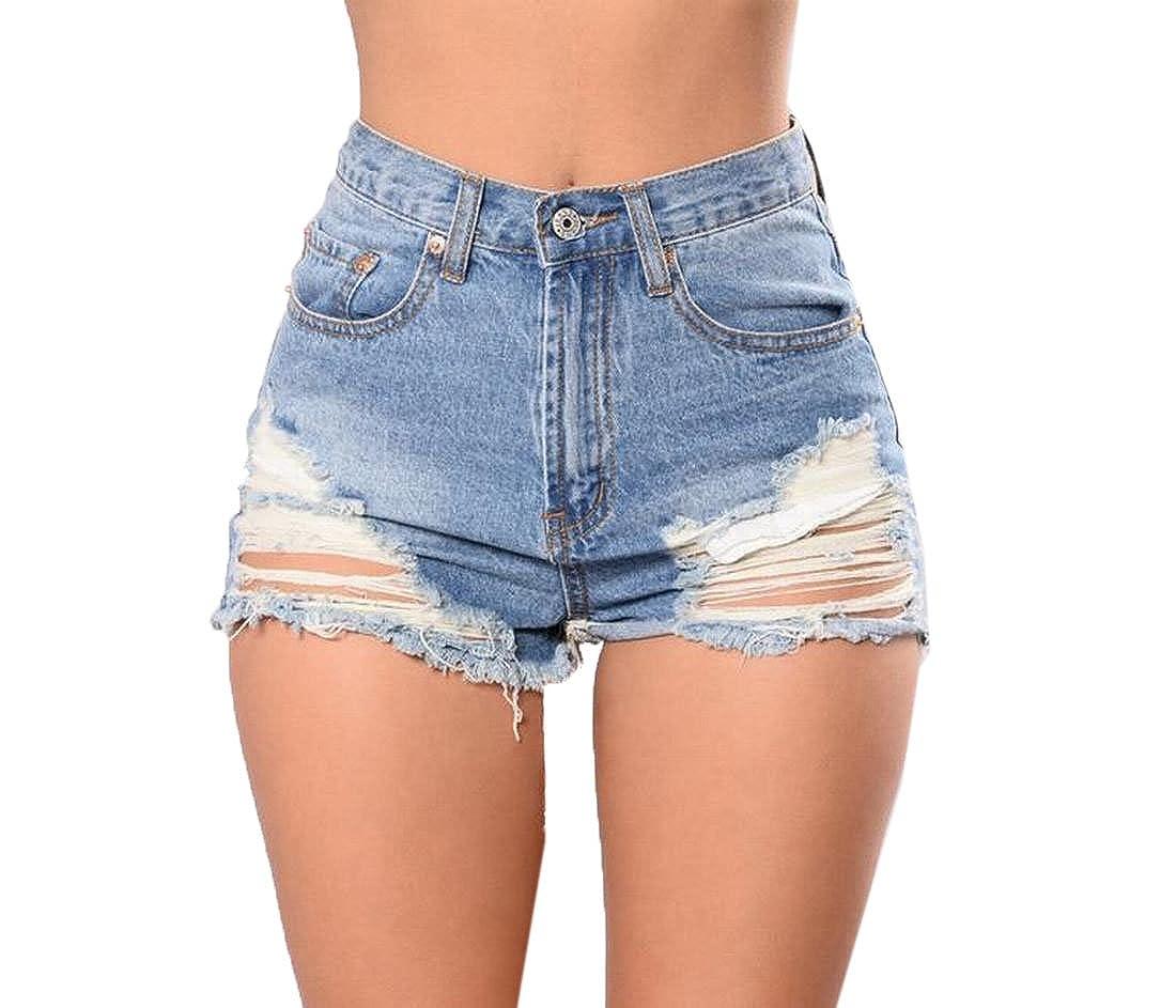 xiaokong Womens Broken Fray Hole Summer Hot Pants Midi Denim Shorts
