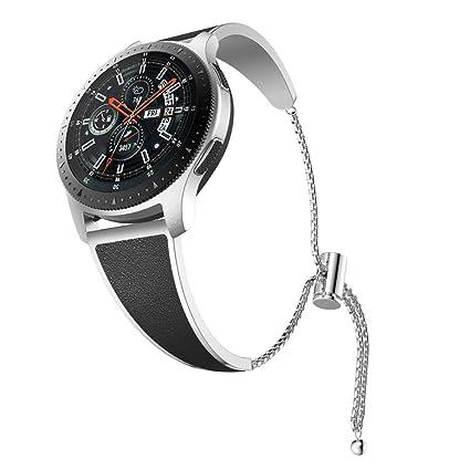 YaYuu Compatible con 22mm Correa de Metal Samsung Galaxy Watch 46mm/Gear S3 Classic/Frontier Banda Pulsera de Cuero de Acero Inoxidable para Moto 360 ...