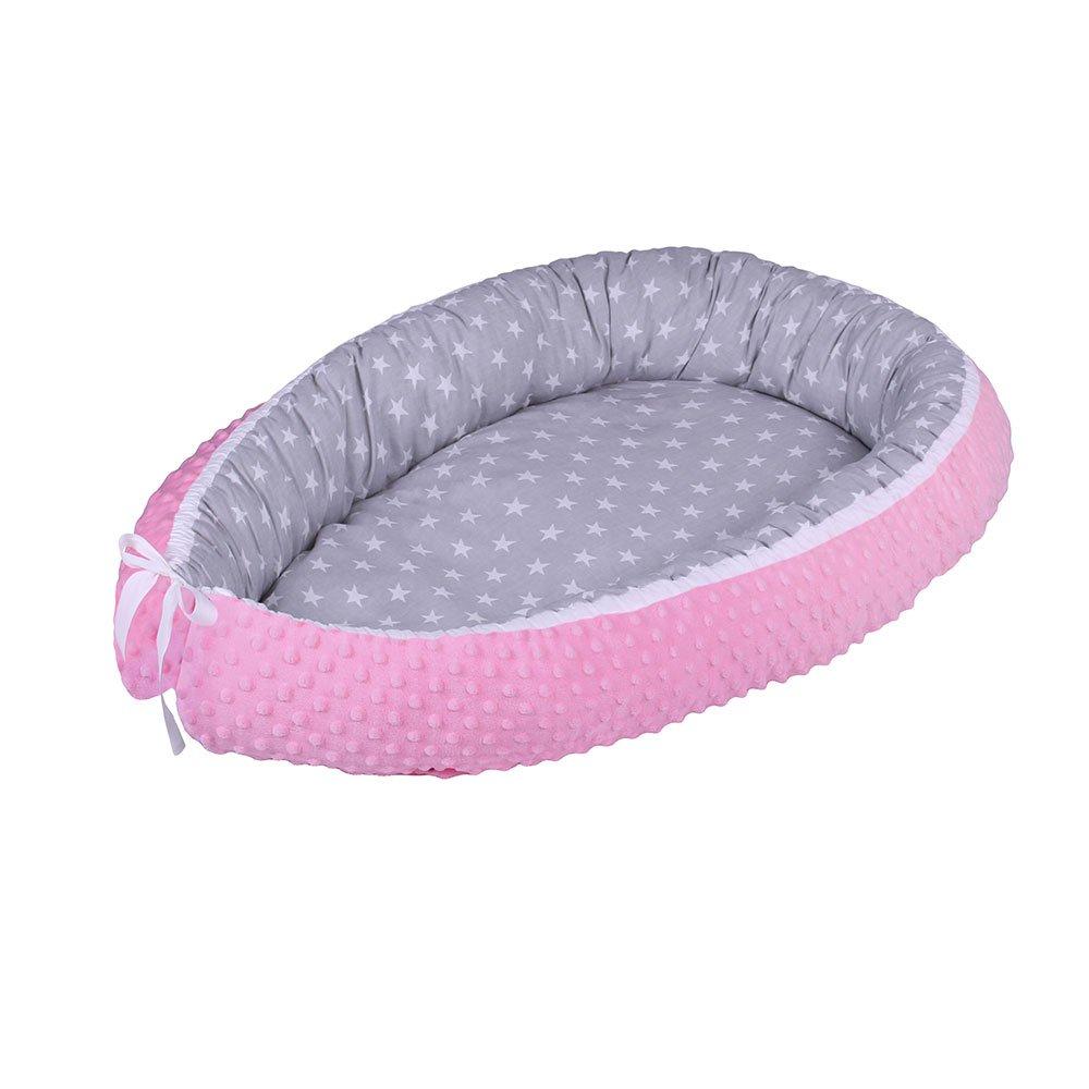 Lulando Baby-Nest Minky Nido bebé Reductor De Cuna Reversible Capullo Multifuncional Diferentes Colores Oeko-Tex Standard 100 Clase , Farbe:White Stars / Pink 883018