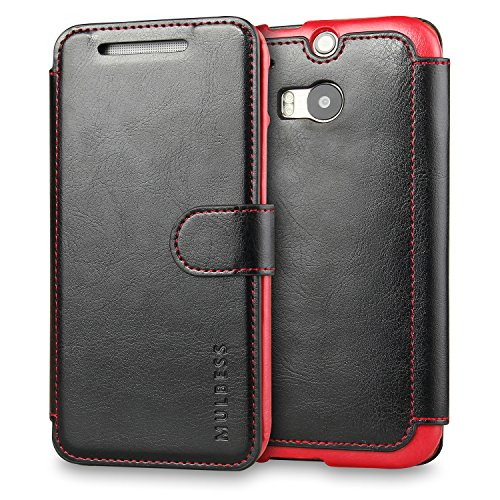 M8 Case,HTC One M8 Case Wallet,Mulbess [Layered Dandy][Vintage Series][Black] - [Ultra Slim][Wallet Case] - Leather Flip Cover with Credit Card Slot for HTC One M8 (Htc One M8 Wallet Case Strap)