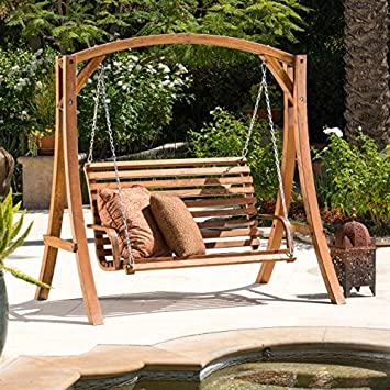 Perfect Marlette Outdoor Wood Swinging Bench And Base