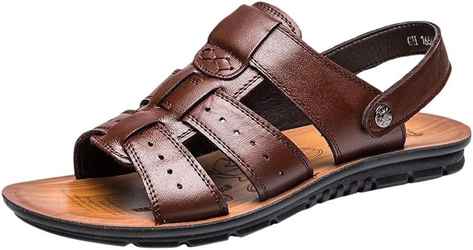 Sandali Uomo Pelle Cuoio Pantofole Ragazzo Chiuse Estive In Pelle Ciabatte Piscina Uomini Spiaggia Mare Sandalo Trekking Scogli Scarpe Sportive Estive Da Casa Sandals