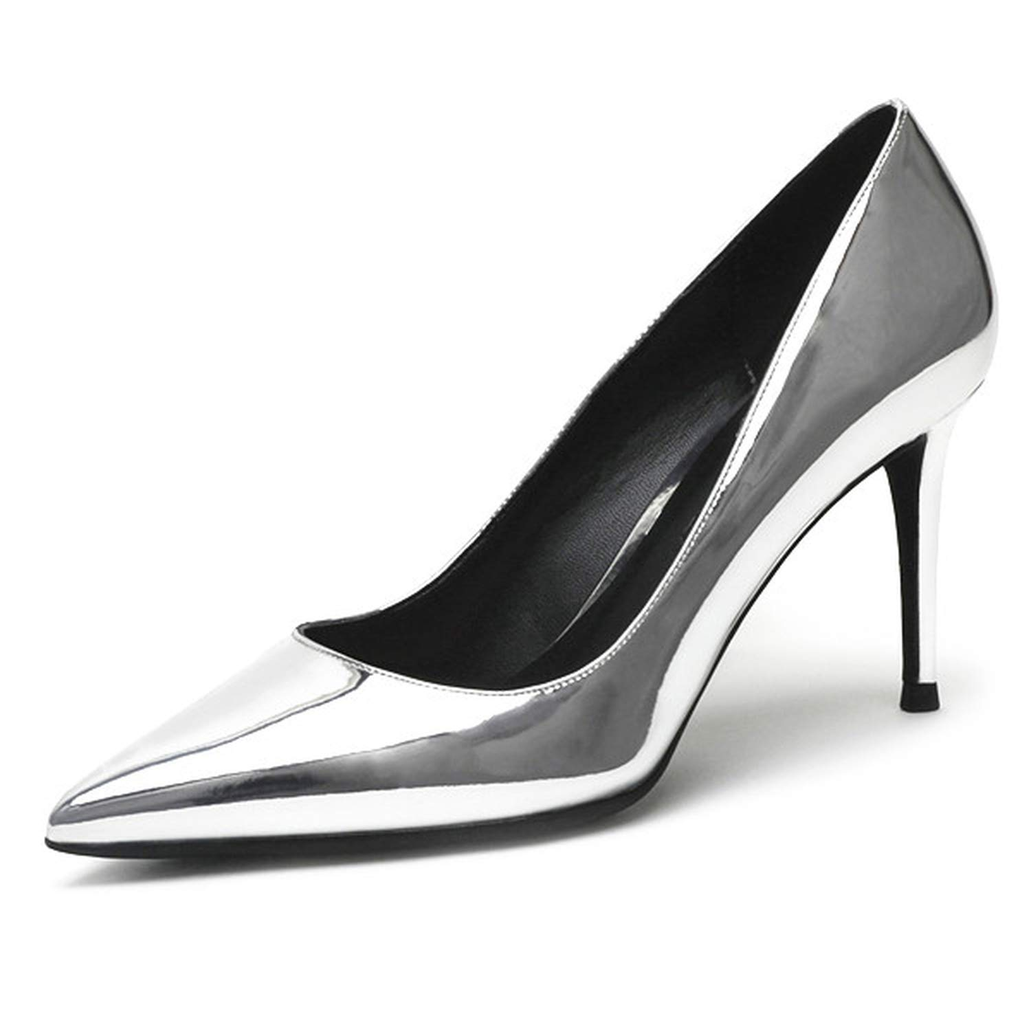 Silver Wedding shoes Women Pumps Patent Leather8Cm Thin Heel shoes for Women,K-318