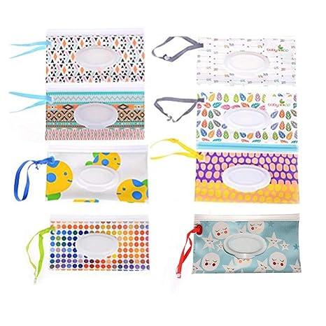 8 piezas de bolsa de pañales para bebé, dispensador de pañales recargables, pañales húmedos, con correa de embrague, contenedor de toallitas (no ...