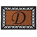 "Home & More 180041925D Inserted Doormat, 19"" X 25"" x 0.60"", Monogrammed Letter D, Natural/Black"