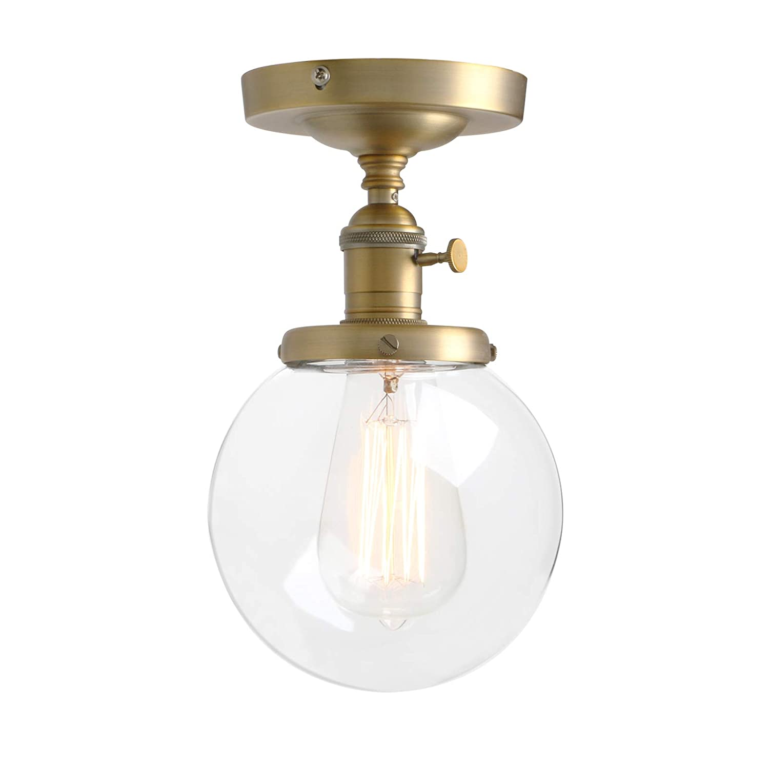 Pathson industrial brass semi flush mount ceiling light vintage style pendant lighting glass shade hanging light fixtures for laundry room living room