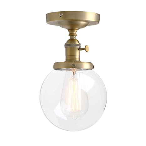 newest 4e02d 360ae Pathson Industrial Brass Semi-Flush Mount Ceiling Light, Vintage Style  Pendant Lighting, Glass Shade Hanging Light Fixtures for Laundry Room  Living ...