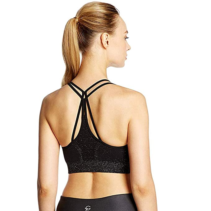 39c11ed90ef 7Goals Women's Seamless Halter Strappy Yoga Bra with Removable Pads