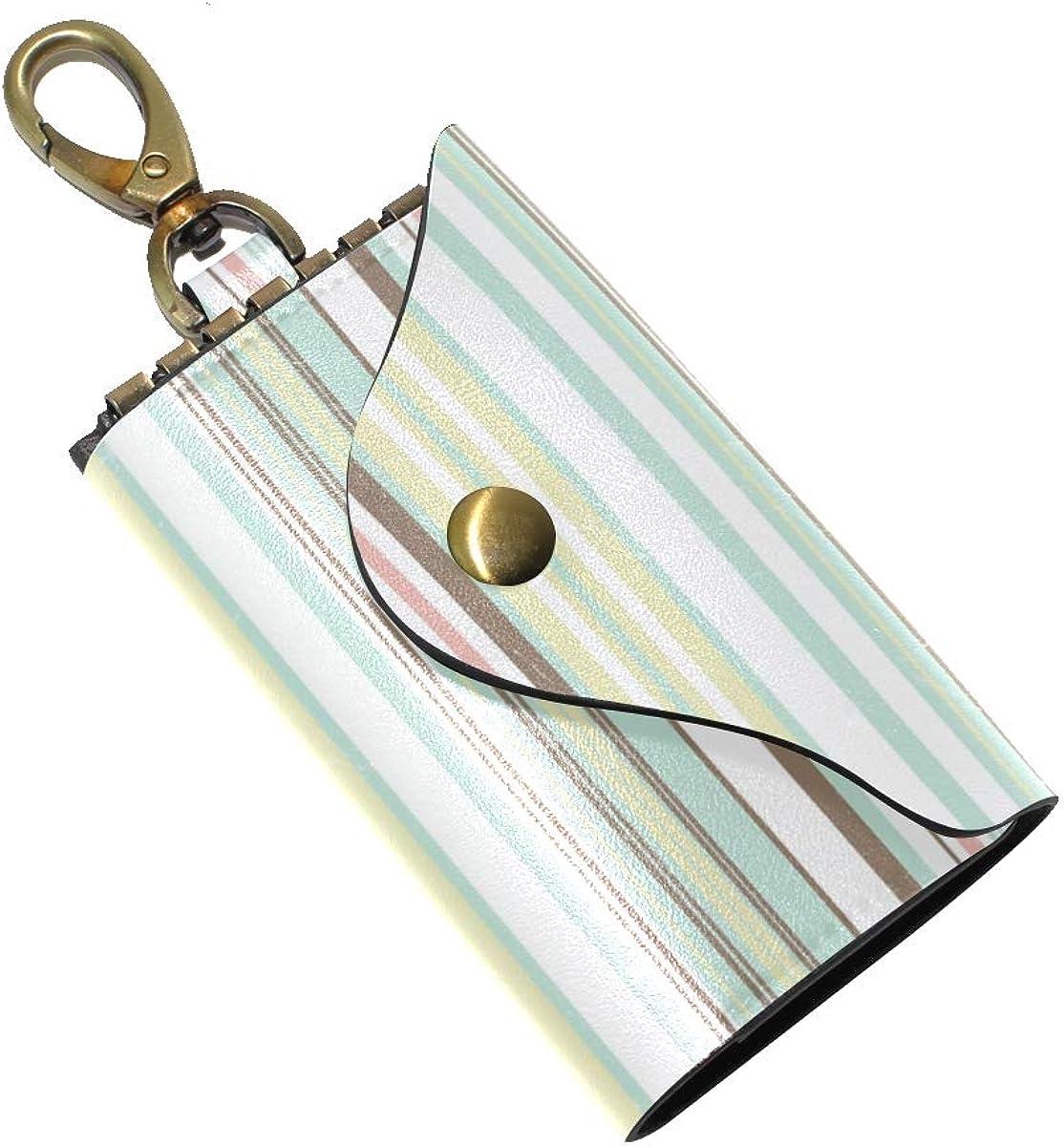 KEAKIA Fox Leather Key Case Wallets Tri-fold Key Holder Keychains with 6 Hooks 2 Slot Snap Closure for Men Women