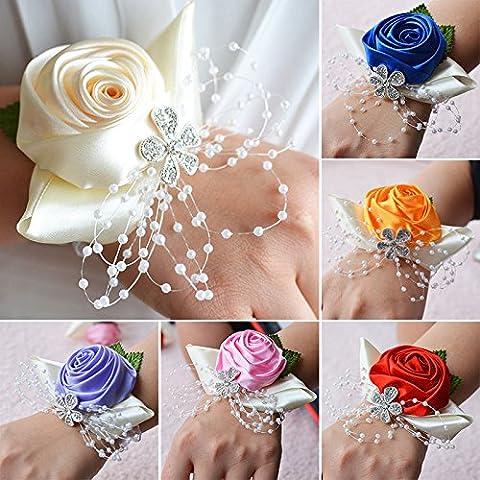 AMAZZANG-Women Wedding Wrist Corsage Groom Boutonniere Bridesmaid Bride Hand Flower Decor - Las Vegas Wedding Invitation Wording