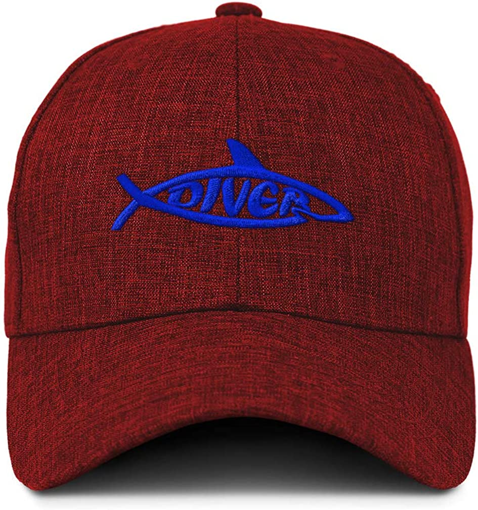 Custom Baseball Cap Diver Shark Embroidery Acrylic Casual Hats for Men /& Women