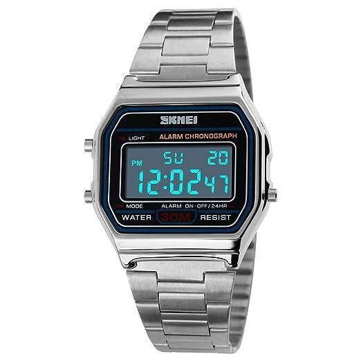 FeiWen Digitales Deportivo Relojes de Pulsera de Mujer y Hombre LED Electrónica Multifuncional Acero Inoxidable Outdoor Militar Reloj Fashion Casual Estilo, ...