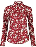 DOKKIA Women's Fashion Tops Feminine Long Sleeve Button Down Work Casual Dress Blouses Shirts (Medium, Wine Red)