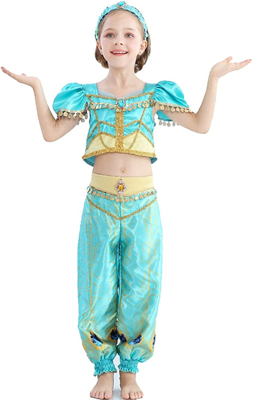 Amycute Disfraz de Princesa Jazmín Cosplay Aladino Teal con ...