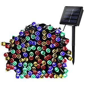 Qedertek 200 LED Solar Powered Christmas Lights, 72ft Fairy Lights Decorative Lighting for Home, Lawn, Garden, Party and Holiday Decorations (Multi Color)