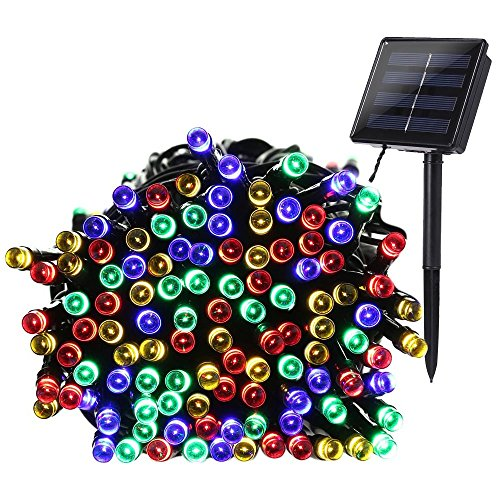 [Qedertek 200 LED Solar Powered String Lights, 72ft Fairy Christmas Lights Decorative Lighting for Home, Lawn, Garden, Party and Holiday Decorations (Multi Color)] (Led Chr)