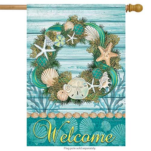 "Briarwood Lane Coastal Wreath Summer House Flag Welcome Nautical Seashells 28"" x 40"""