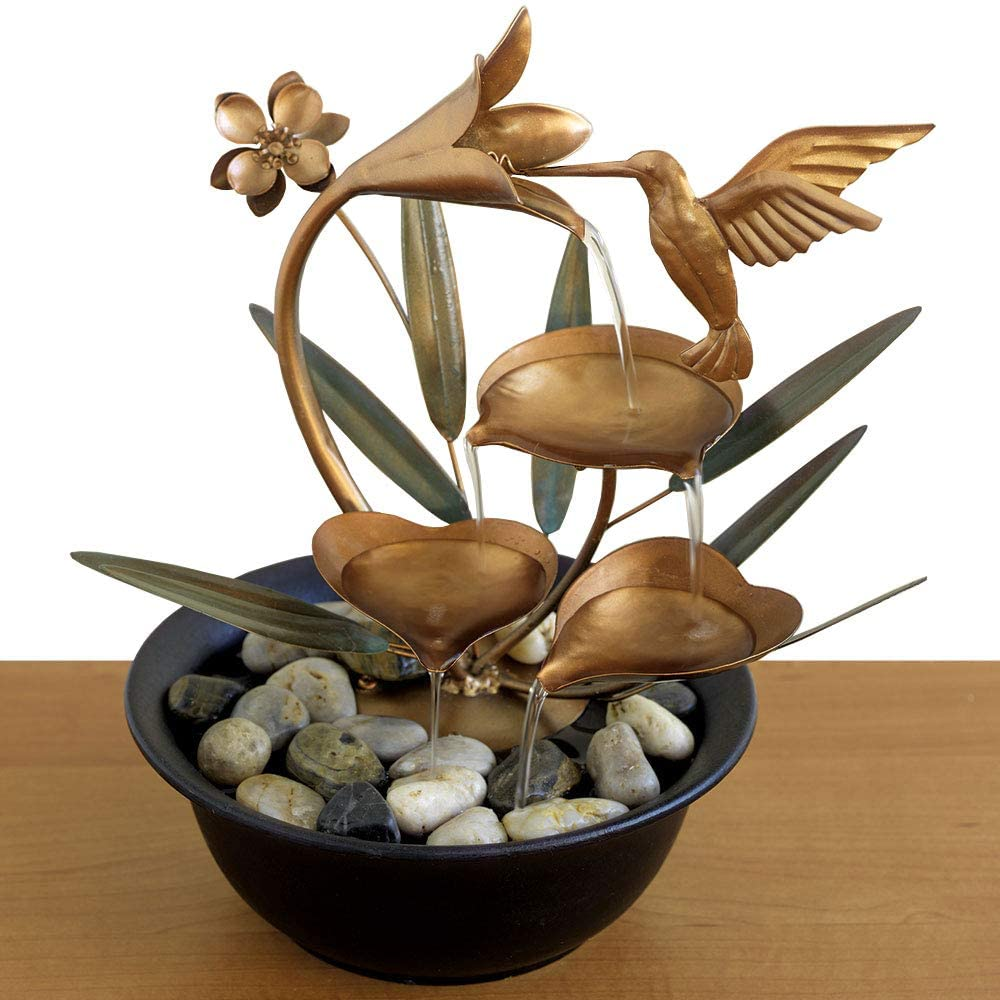 Bits and Pieces - Indoor Hummingbird Lily Fountain - Zen Tabletop Water Fountain