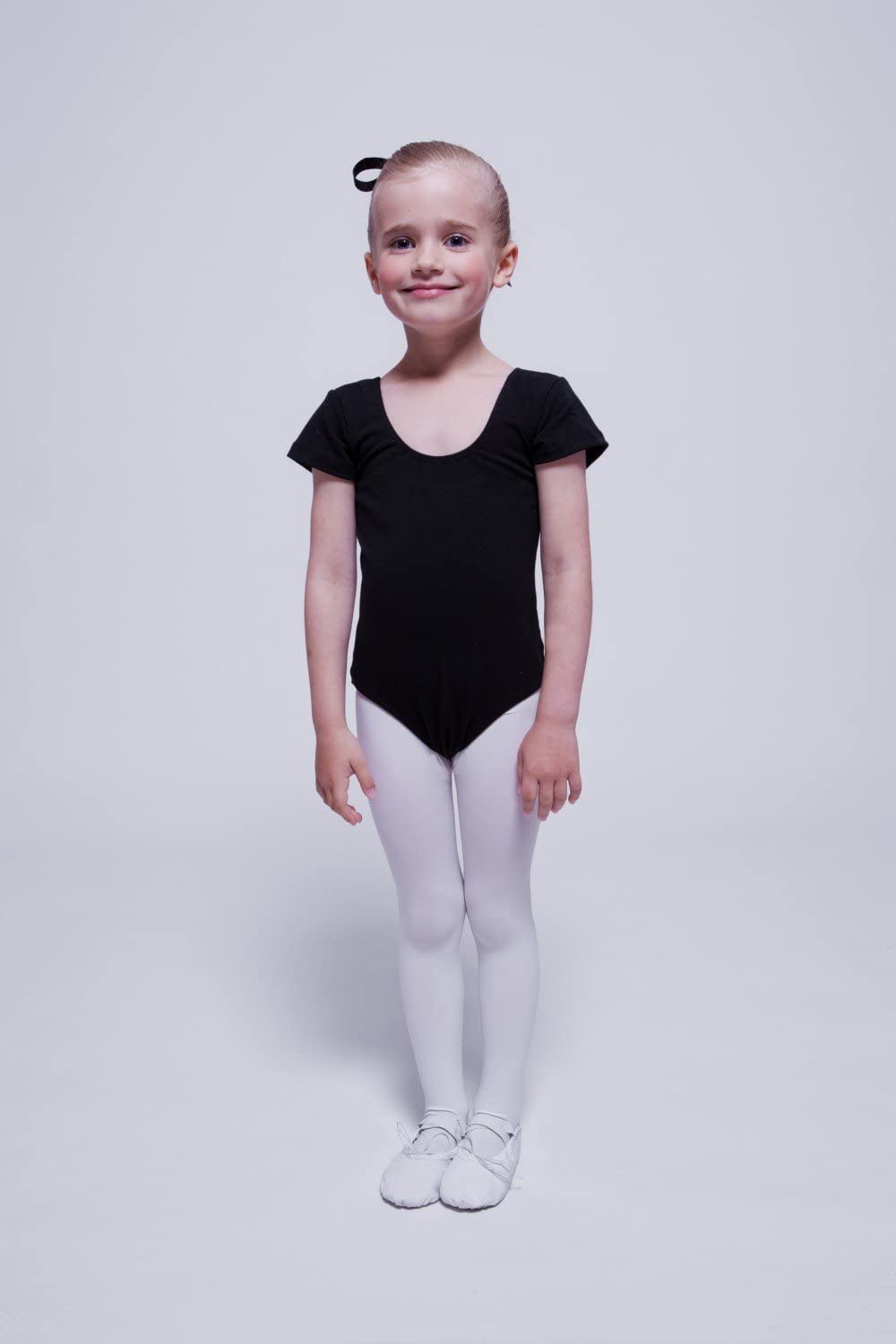 White Black Made of Soft and Durable Cotton Blend hot Pink and Purple Light Blue tanzmuster Short-Sleeved Ballet Leotard Sally for Girls Pink