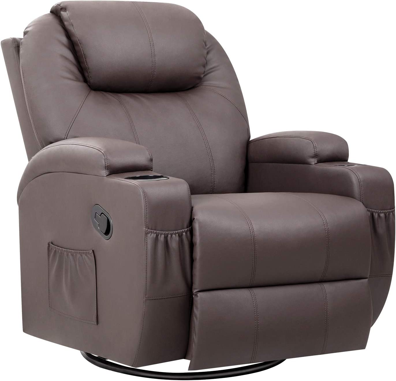 Pawnova PU Leather Chair with Massage Function, Adjustable Home Theater Single Recliner Thick Seat and Backrest, 360°Swivel and Rocking Sofa for Living Room, Brown