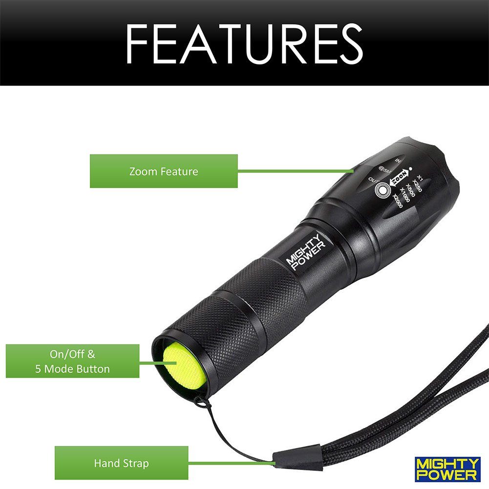Perfect for Power Outages Camping SUPER BRIGHT TACTICAL LED FLASHLIGHT BY Mighty Power with Adjustable Range 5 Functions Black CREE LED Light with 800 Lumens 12 Pack Emergency Situations