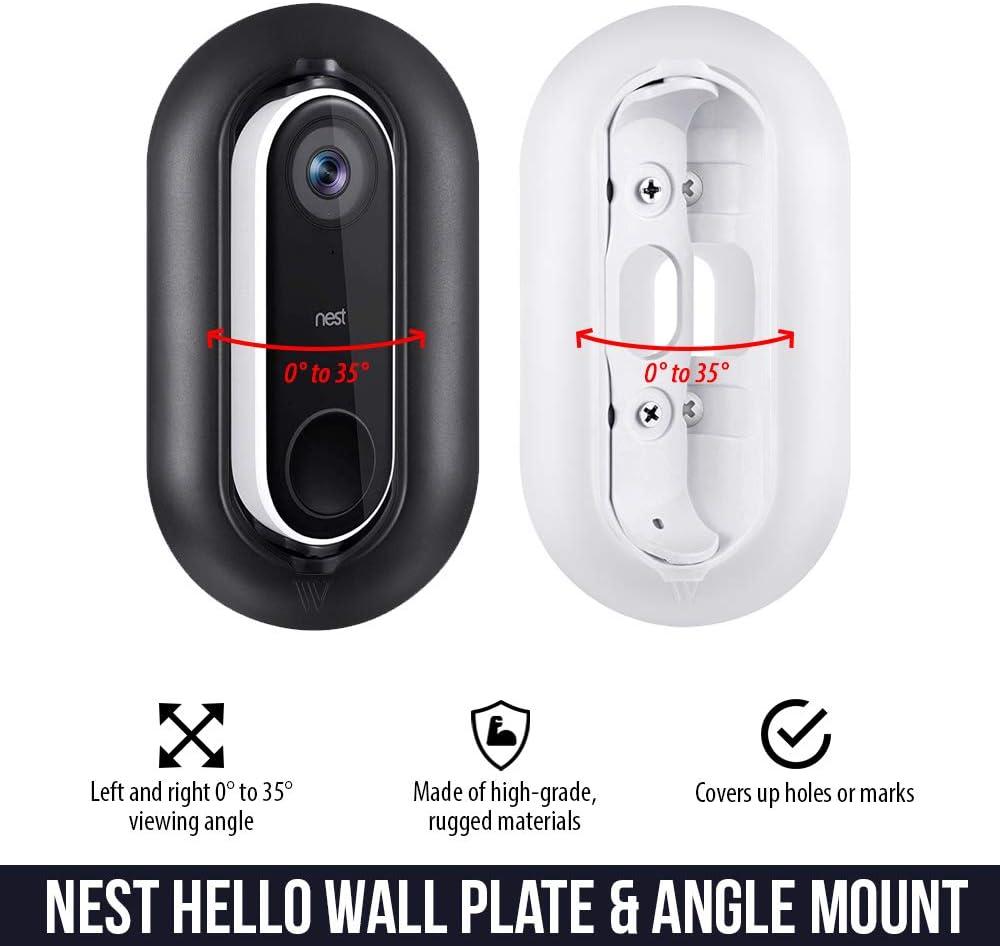 Placa de pared resistente a la intemperie y a los rayos UV y soporte de pared de /ángulo ajustable para timbre de v/ídeo Nest Hello Accesorio y protege tu Nest Hello padre