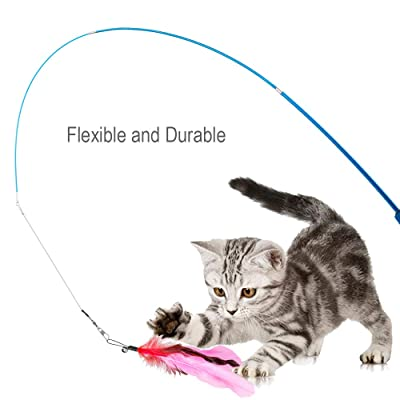 Interhomie 12Pcs Feather Cat Toys Colorful Feather Cat Teaser and Exerciser Cat Wand