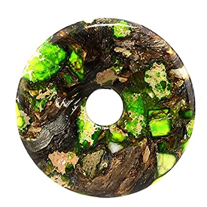 50mm Gemstone Dyed Sea Sediment Jasper Reiki Healing Chakra Donut Pendant Bead DIY Jewelry Accressory Necklace Kit (Dark green) Baixiyan