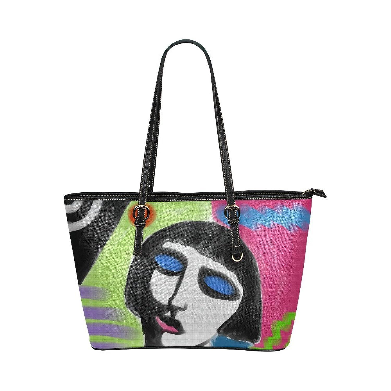 Funky Abstract Art Custom Women's Leather Tote Large Bag/Handbag/Shoulder Bag